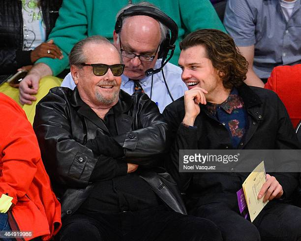 Jack Nicholson and his song Ray Nicholson attends a basketball game between the Oklahoma City Thunder and the Los Angeles Lakers at Staples Center on...