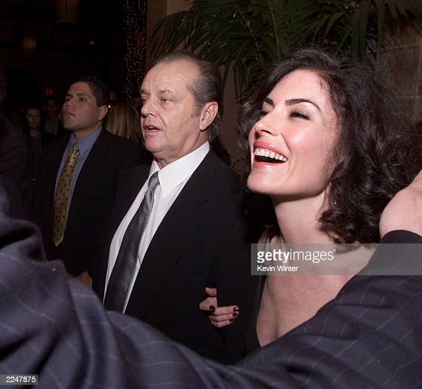 Jack Nicholson and Lara Flynn Boyle at the postpremiere party for 'The Pledge' at The Sunset Room in Los Angeles Ca 01/09/01