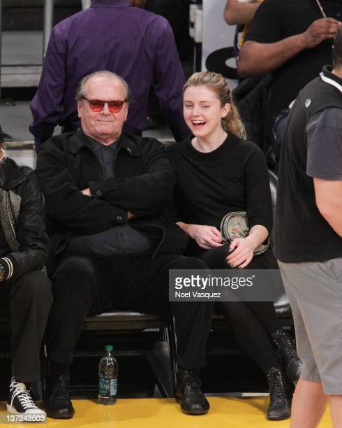 Jack Nicholson and Lorraine Nicholson attend a game between the Dallas Mavericks and the Los Angeles Lakers at Staples Center on January 16 2012 in...