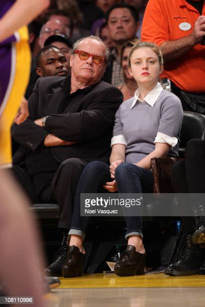 Jack Nicholson and Lorraine Nicholson attend a game between the Oklahoma City Thunder and the Los Angeles Lakers at Staples Center on January 17 2011...