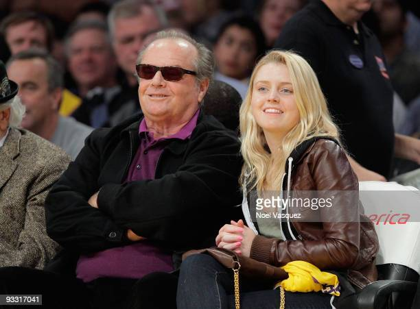 Jack Nicholson and Lorraine Nicholson attend a game between the Oklahoma City Thunder and the Los Angeles Lakers at Staples Center on November 22...