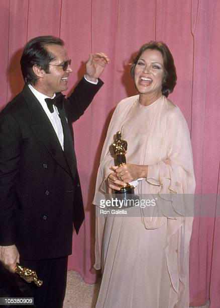 Jack Nicholson and Louise Fletcher during 48th Annual Academy Awards at Dorothy Chandler Pavilion Music Center in Los Angeles California United States