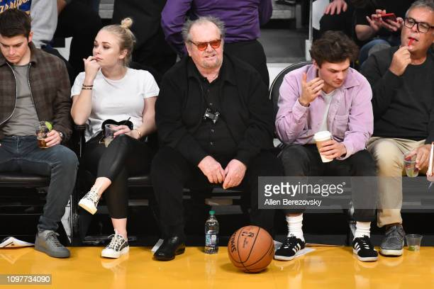 Jack Nicholson and Ray Nicholson attend a basketball game between the Los Angeles Lakers and the Golden State Warriors at Staples Center on January...