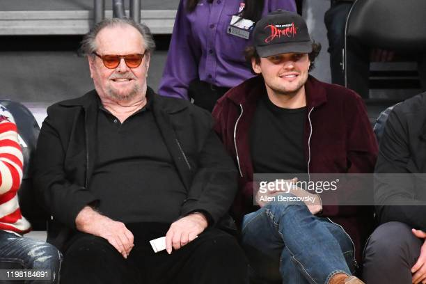 Jack Nicholson and Ray Nicholson attend a basketball game between the Los Angeles Lakers and the New York Knicks at Staples Center on January 07,...
