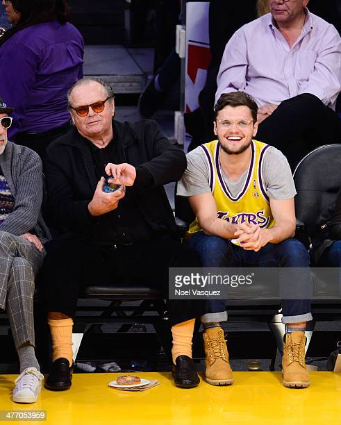 Jack Nicholson and Ray Nicholson attend a basketball game between the Los Angeles Clipers and the Los Angeles Lakers at Staples Center on March 6...