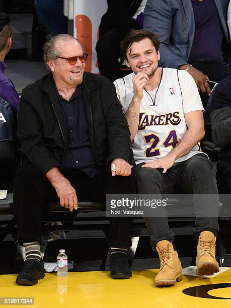 Jack Nicholson and Ray Nicholson attend a basketball game between the Los Angeles Clippers and the Los Angeles Lakers at Staples Center on April 6...