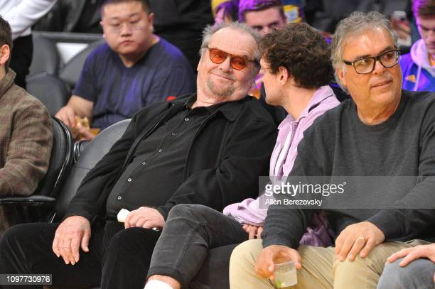 Jack Nicholson and Ray Nicholson attends a basketball game between the Los Angeles Lakers and the Golden State Warriors at Staples Center on January...