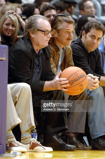 Jack Nicholson and Sean Penn sit courtside as the Los Angeles Lakers take on the Detroit Pistons on November 10 2006 at Staples Center in Los Angeles...