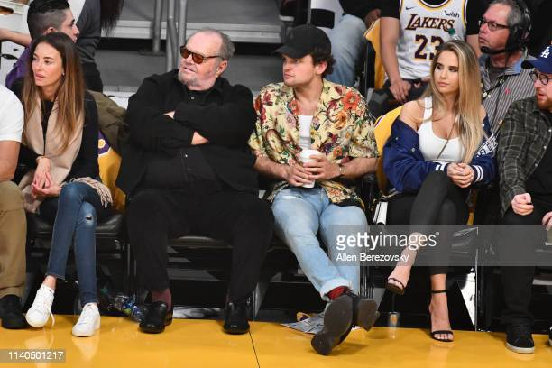 Jack Nicholson and son Ray Nicholson attend a basketball game between the Los Angeles Lakers and the Golden State Warriors at Staples Center on April...