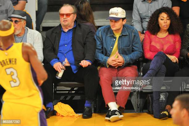 Jack Nicholson and son Ray Nicholson attend a basketball game between the Los Angeles Lakers and the Los Angeles Clippers at Staples Center on...