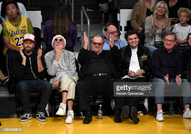 Jack Nicholson attends a basketball game between the Houston Rockets and Los Angeles Lakers at Staples Center on October 20 2018 in Los Angeles...