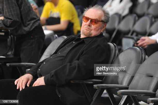 Jack Nicholson attends a basketball game between the Los Angeles Lakers and the Golden State Warriors at Staples Center on January 21 2019 in Los...