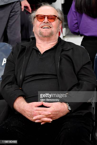 Jack Nicholson attends a basketball game between the Los Angeles Lakers and the New York Knicks at Staples Center on January 07, 2020 in Los Angeles,...