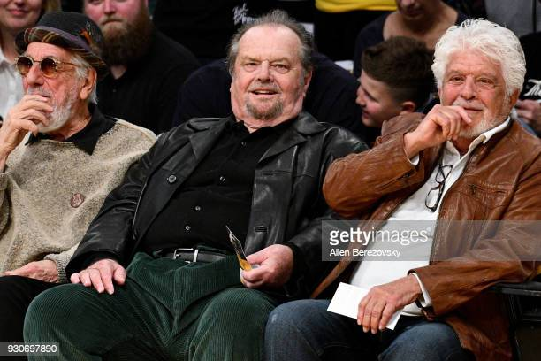 Jack Nicholson attends a basketball game between the Los Angeles Lakers and the Cleveland Cavaliers at Staples Center on March 11 2018 in Los Angeles...