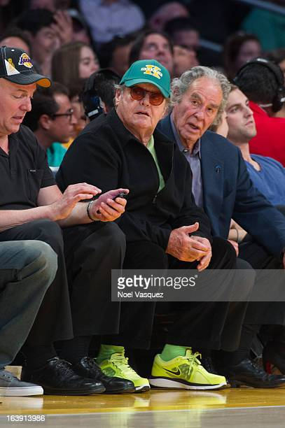 Jack Nicholson attends a basketball game between the Sacramento Kings and the Los Angeles Lakers at Staples Center on March 17 2013 in Los Angeles...