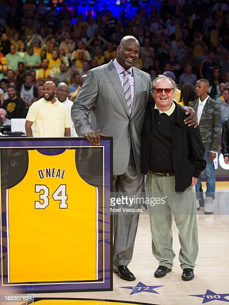 Jack Nicholson attends Shaquille O'Neal's jersey retirement ceremony at a basketball game between the Dallas Mavericks and the Los Angeles Lakers at...
