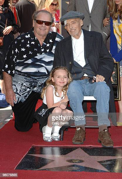 Jack Nicholson Dennis Hopper and daughter Galen Hopper at Dennis Hopper's Star ceremony on Hollywood Walk Of Fame on March 26 2010 in Los Angeles...