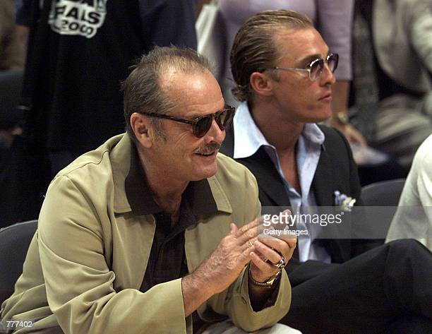Jack Nicholson left and Matthew McConaughey sit courtside during Game 2 of the NBA Finals between the Los Angeles Lakers and the Indiana Pacers June...