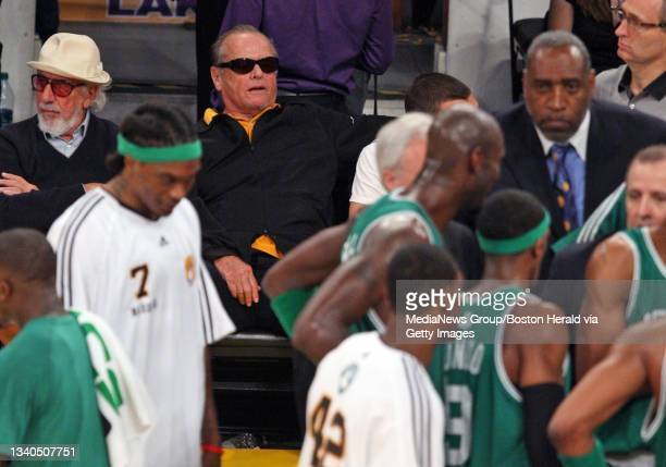 Jack Nicholson looking stunned in the fourth quarter of the Celtics vs. Lakers game 2 at the Staples Center, Sunday, June 06 Los Angeles, CA.