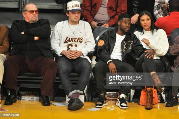 Jack Nicholson Ray Nicholson Kevin Hart and Eniko Parrish attend a basketball game between the Los Angeles Lakers and the Golden State Warriors at...