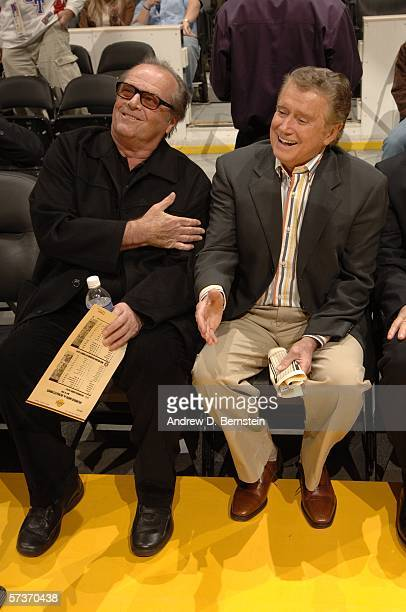 Jack Nicholson sits with Regis Philbin before the Los Angeles Lakers play against the New Orleans/Oklahoma City Hornets April 19 2006 at Staples...