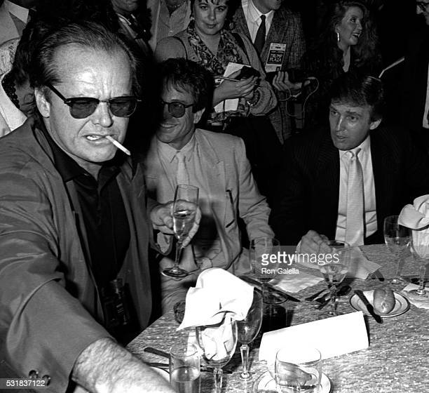 Jack Nicholson Warren Beatty and Donald Trump attend TysonSpinks Boxing Match on June 27 1988 at Trump Plaza Hotel and Casino in Atlantic City New...