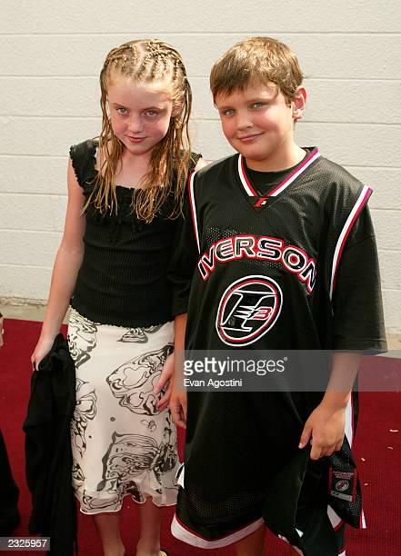 Jack Nicholson's kids Lorraine and Ray arriving at a 'Men In Black II' screening to benefit Hayground School at the UA East Hampton Cinema in East...