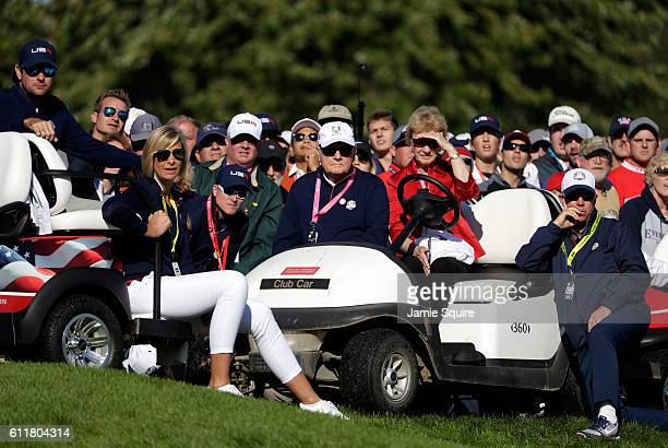 Jack Nicklaus and Barbara Nicklaus look on during morning foursome matches of the 2016 Ryder Cup at Hazeltine National Golf Club on October 1 2016 in...