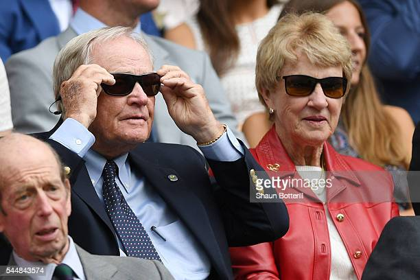 Jack Nicklaus and Barbara Nicklaus look on from in Centre Court on day seven of the Wimbledon Lawn Tennis Championships at the All England Lawn...