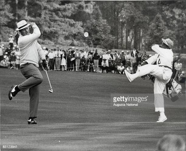 Jack Nicklaus And Caddie Willie Peterson Reacts To A Put During The 1966 Masters Tournament