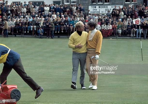 Jack Nicklaus and Doug Sanders both of the United States during the playoff at the British Open Golf Championship on the Old Course at St Andrews...