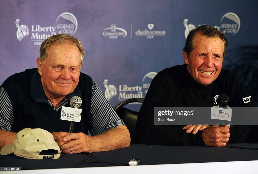 Jack Nicklaus and Gary Player address the media after playing the first round of the Demaret Division at the Liberty Mutual Insurance Legends of Golf at The Westin Savannah Harbor Golf Resort & Spa on April 22, 2013 in Savannah, Georgia.