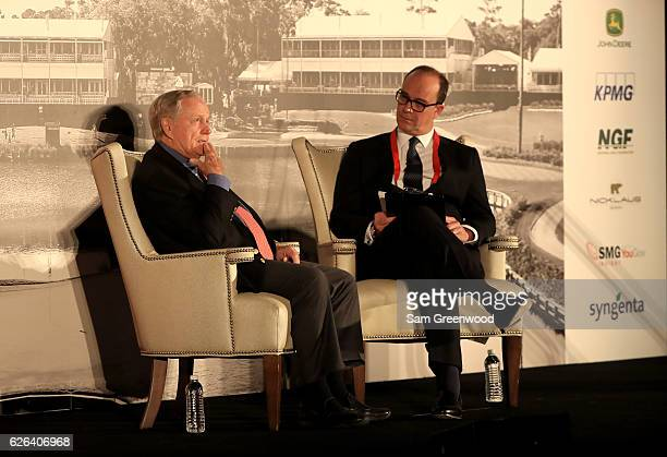 Jack Nicklaus and Giles Morgan Global Head of Sponsorship and Events at HSBC speak during the HSBC Golf Business Forum on November 29 2016 in Ponte...