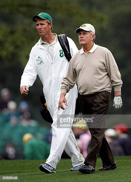 Jack Nicklaus and his caddie Jack Nicklaus Jr walk on the 16th hole during round two of The Masters at the Augusta National Golf Club on April 9 2005...