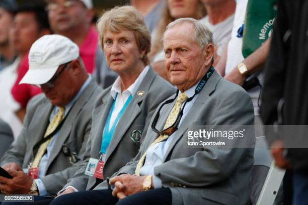 Jack Nicklaus and his wife Barbara Nicklaus watch the finish on the 18th hole during the Memorial Tournament Final Round at Muirfield Village Golf...