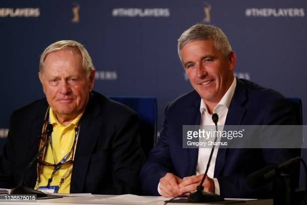 Jack Nicklaus and PGA TOUR Commissioner Jay Monahan speak to the media during a practice round for The PLAYERS Championship on The Stadium Course at...