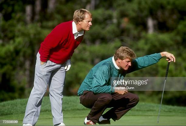 Jack Nicklaus and son/caddie Stephen line up a putt during the 1991 ATT Pebble Beach Pro Am at the Pebble Beach Golf Course in Pebble Beach...