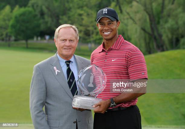 Jack Nicklaus and Tiger Woods pose with the tournament trophy after the Memorial Tournament at Muirfield Village Golf Club on June 7 2009 in Dublin...