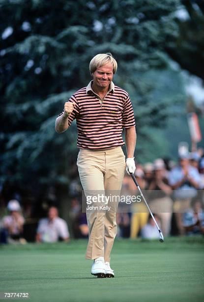Jack Nicklaus celebrates after birdieing the 17th hole in the final round of the 1980 US Open on June 21, 1980 at the Baltusrol Golf Club in...