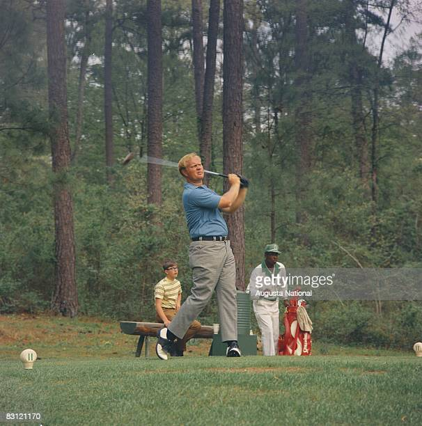 Jack Nicklaus drives off the 11th tee during the 1969 Masters Tournament at Augusta National Golf Club in April 1969 in Augusta Georgia