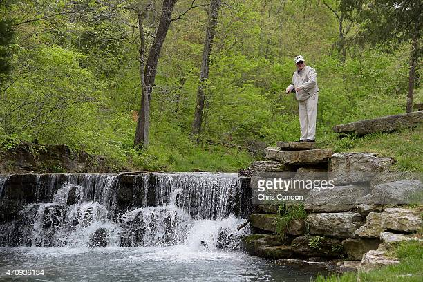 Jack Nicklaus enjoys a fly fishing excursion at Dogwood Canyon after his ProAm round during the Champions Tour Bass Pro Shops Legends of Golf at Big...