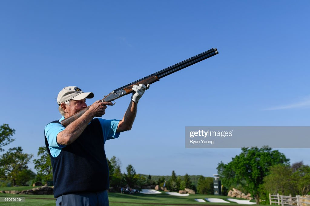 Jack Nicklaus fires a shotgun signaling the shotgun start of the pro-am during practice for the PGA TOUR Champions Bass Pro Shops Legends of Golf at Big Cedar Lodge at Top of the Rock on April 20, 2017 in Ridgedale, Missouri.