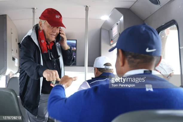Jack Nicklaus fist bumps Tiger Woods of the United States as they ride ride on a shuttle bus prior to the Payne's Valley Cup on September 22, 2020 on...