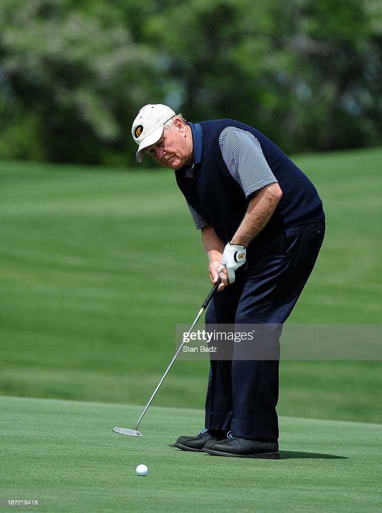 Jack Nicklaus hits a putt on the 16th hole during the first round of the Demaret Division at the Liberty Mutual Insurance Legends of Golf at The Westin Savannah Harbor Golf Resort & Spa on April 22, 2013 in Savannah, Georgia.