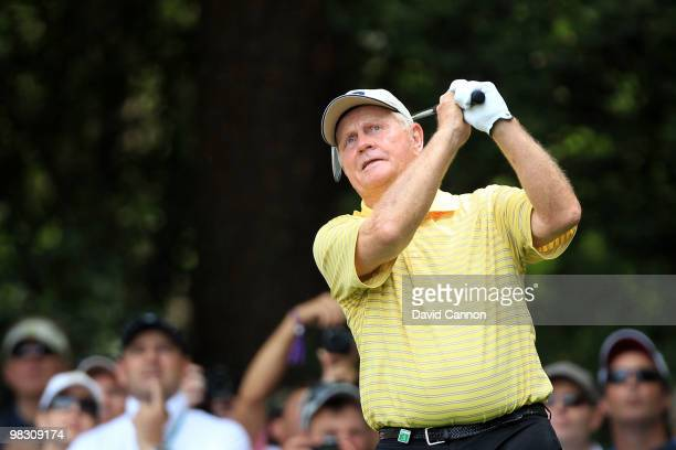 Jack Nicklaus hits a shot during the Par 3 Contest prior to the 2010 Masters Tournament at Augusta National Golf Club on April 7 2010 in Augusta...
