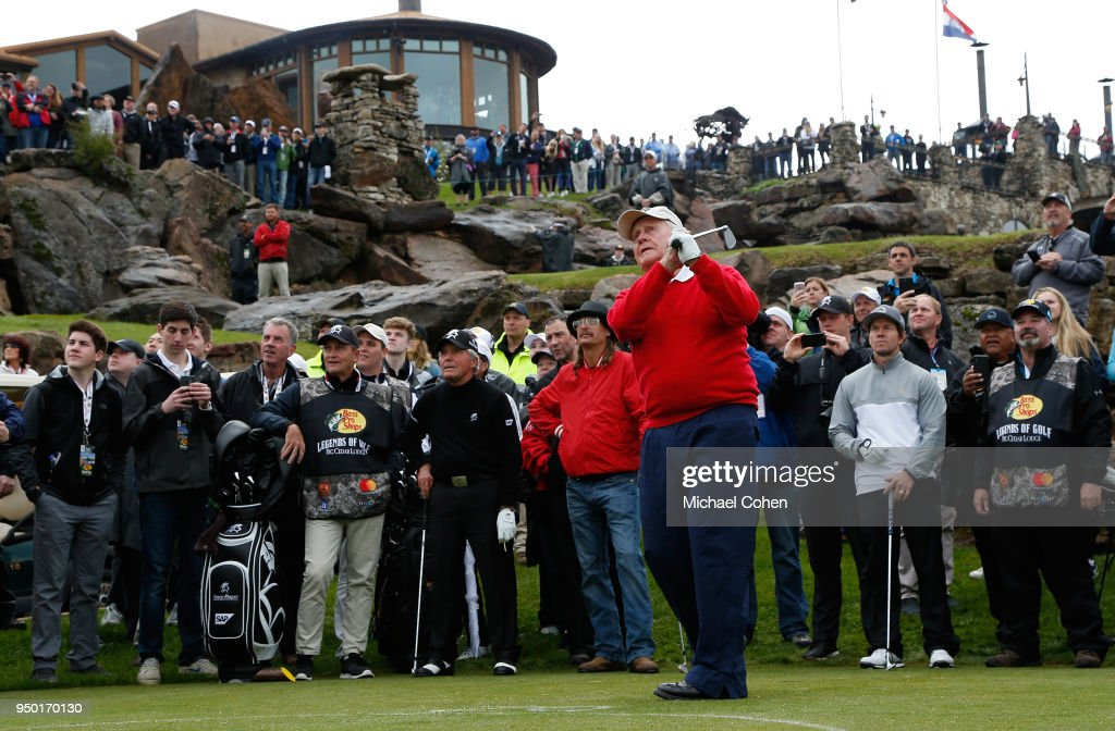 Jack Nicklaus hits a tee shot during the Bass Pro Shops Legends of Golf Celebrity Shootout at Big Cedar Lodge held at Top of the Rock on April 22, 2018 in Ridgedale, Missouri.