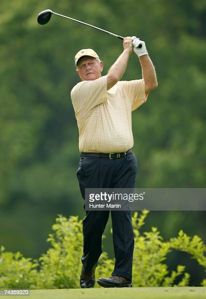 Jack Nicklaus hits his tee shot on the 18th hole during the Morgan Stanley Pro-Am Invitational at The Memorial Tournament May 30, 2007 in Dublin,...