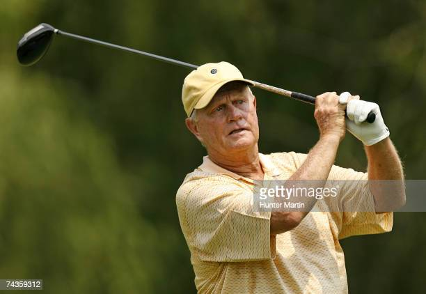 Jack Nicklaus hits his tee shot on the ninth during the Morgan Stanley Pro-Am Invitational at The Memorial Tournament May 30, 2007 in Dublin, Ohio.