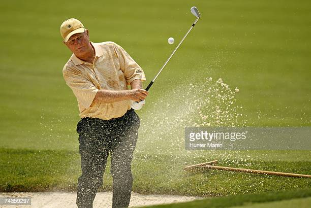 Jack Nicklaus hits out of a bunker on the fourth hole during the Morgan Stanley Pro-Am Invitational at The Memorial Tournament May 30, 2007 in...