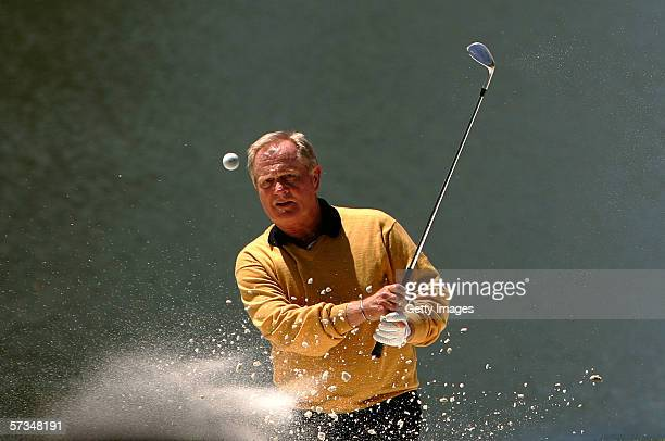 Jack Nicklaus hits out the bunker on the 4th hole during the Par 3 contest prior to The Masters at the Augusta National Golf Club on April 5 2006 in...
